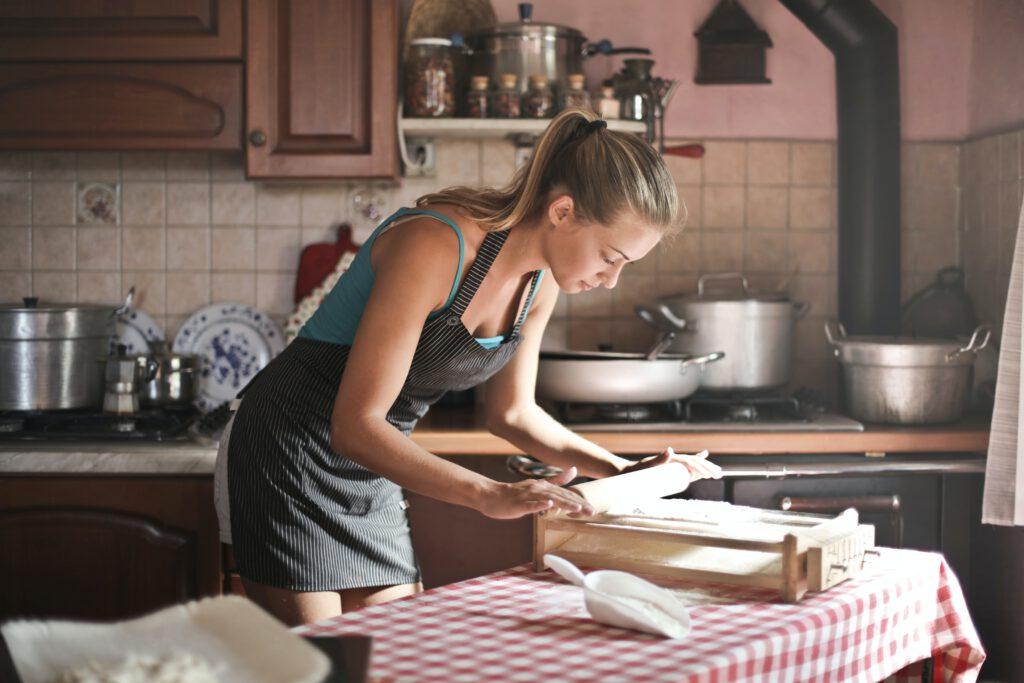 leren keukenschort